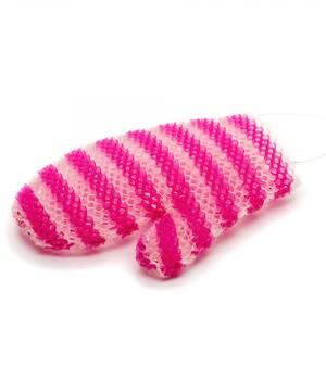 Мочалка рукавичка пурпурно-белая